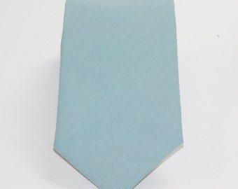 Dusty blue linen necktie. Light blue linen tie