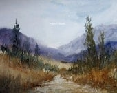 Landscape Painting, watercolor landscape, archival print, scenic woodland watercolor, country landscape, mountain painting, nature, scenic.