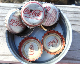 Vintage Lot of 7 Coke Metal Caps