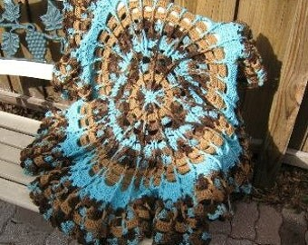 Turquoise and Brown Variegated Circle Afghan