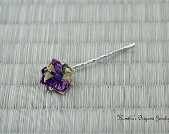 Japanese Origami Accessory - Origami Flower Bobby Pin No.03081