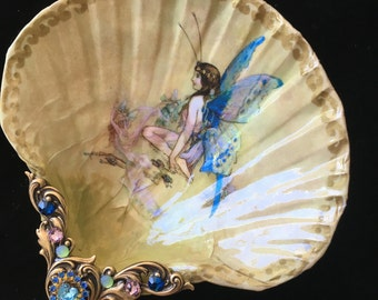 Butterfly Fairy Medium Shell Jewelry Dish Ring Dish Trinket Dish Collectable