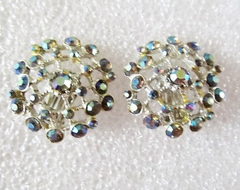 Iridescent AB Rhinestone Clip Earrings Silver Tone Metal