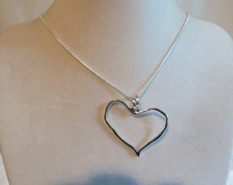 """18"""" Silver Heart Necklace, necklace, silver, heart"""