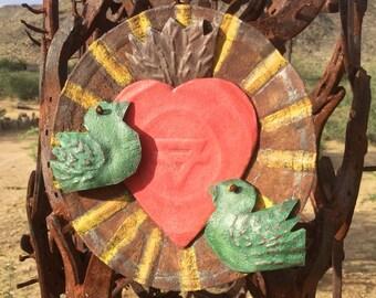 Sacred Heart / Birds - MilagrO - Ex Voto - Mixed Metal - Folk ArT - Rustic Hacienda - Original By Cathy DeLeRee