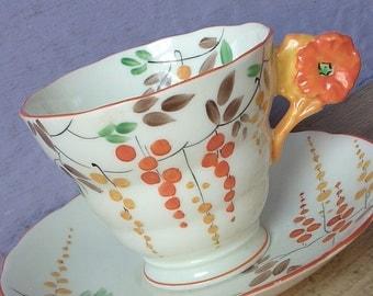 Vintage 1930's Flower Handle teacup, Radfords Crown china teacup, Antique teacup, art deco tea cup, English tea cup, Hand painted tea cup