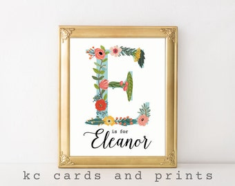 Floral Monogram Art, Eleanor Name Art, Nursery Art, Nursery Decor, Nursery Name Printable, Art Print, Digital Print, Instant Download