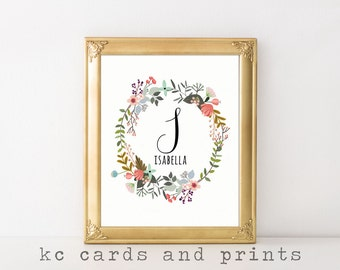 Isabella Name Print - I Monogram Nursery Printable - Nursery Art Print - Printable Nursery Decor - Custom Name Printable