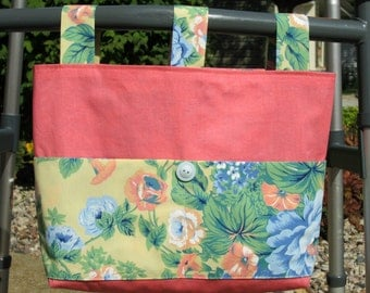 Adult Woman Walker Bag Tote Caddy Purse – Coral Polished Cotton w/Large Pastel Floral Pockets & Straps, Pastel Blue Button