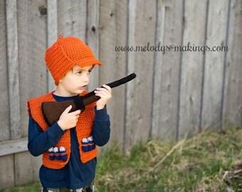Hunting Vest Crochet Pattern ~ Crochet Hunting Pattern ~ Hunter Costume Crochet Pattern ~ Halloween Costume Crochet Pattern