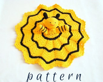Bee Fun Blankie crochet pattern security blanket hand puppet pattern baby blankie blankie buddy blankie buddies crochet hand puppet crochet
