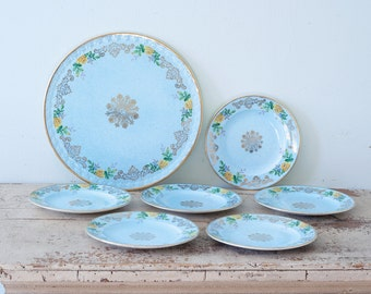 Pastel Blue H. Aynsley & Co Desset 7 Piece Set - Stoke-on-Trent Commerce Works Longton