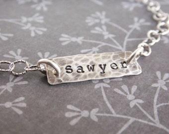 Hand Stamped Name Bracelet, Antiqued Sterling Silver Bracelet, Layering Bracelet, Gift for New Mom
