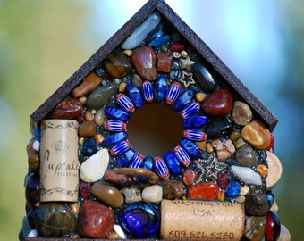 USA birdhouse red white blue mosaic stars outdoor birdhouse American made with wine corks rocks river stones West Coast made in Oregon
