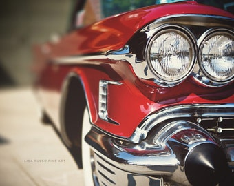 Father's Day Gift,  Red Cadillac Print or Canvas Wrap, Classic Car Photography, Mid-Century Red Car, 1950s Mad Men, Art for Men.