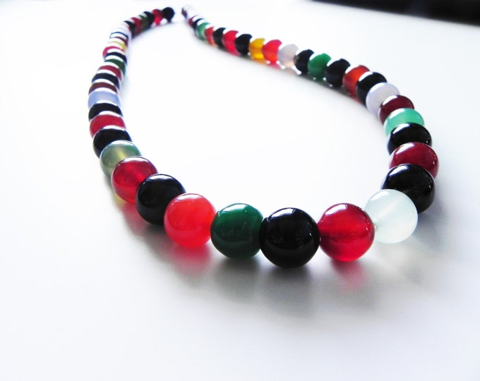 """Agate long necklace in gorgeous autumnal colours, 25"""" in length"""