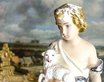 Vintage St. John the Baptist with Lambs Statue, Italy, Chalkware