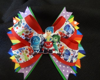 Inside out inspired bow, 5 inch hairbow anger, joy, fear, disgust, sadness