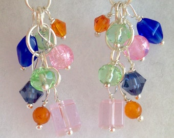 Colorful bauble earrings, pink, blue, green, orange earrings, cascading earrings