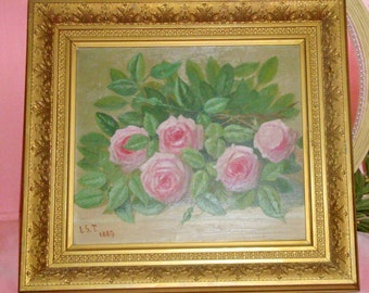 Antique ROSES Oil Painting Pink ROSES signed 1889 Stretched Canvas Gold Gilt Ornate Frame