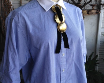 Upcycled Mens stripe shirts retrimed  white Super cute one size