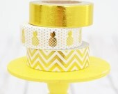 Gold Foil Pineapple Washi Tape Set Solid Gold Foil / Gold Pineapples / Gold Chevron