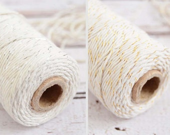 Gold Twine or Silver Twine 110 yards of 9-ply Metallic Bakers Twine