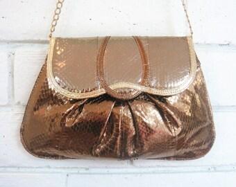 80's METALLIC SNAKESKIN BAG vintage chain strap shoulder bag convertible clutch shiny gold bronze metal purse
