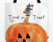 Tote Bag, Little Witch Pumpkin trick or treat tote for Halloween