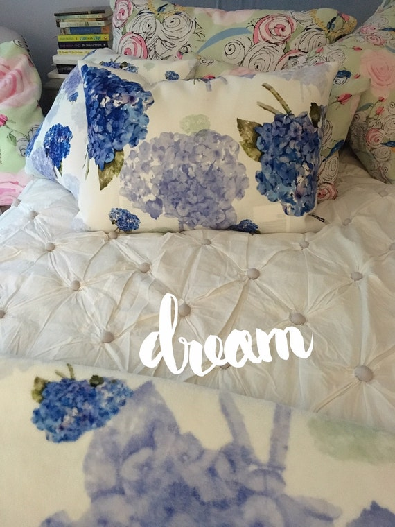 Rectangular Throw Pillow, Cape Cod Hydrangea nosegays, painted in watercolor