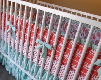 MADE to ORDER--Girl Crib Bedding- 3 piece Baby Bedding Set- Feathers Arrows Coral Mint