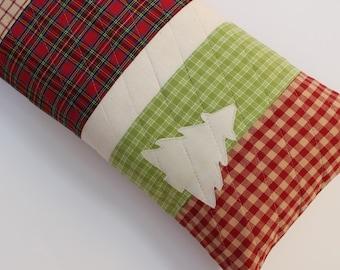 Christmas Pillows, Red Tartan Plaid Holiday Decor