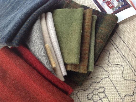 WOOL PACK for Rug Hooking and Applique, J981, Wool Fabric Bundle, Wool Pack to Hook Winter Wonderland, Winter Colors