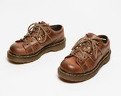 vintage 90s Dr. Martens brown leather oxford shoe 1990 Doc Martens chunky grunge stitch patchwork UK size 4 style 9945 US size 6