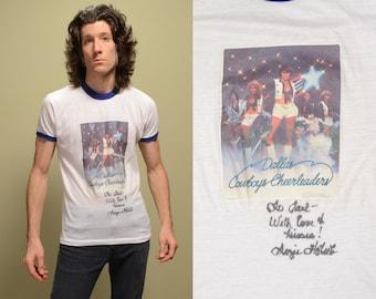 vintage 70s Dallas Cowboys Cheerleaders ringer t-shirt singed Suzie Holub 1970 Downerwear rare collectible 1977 NFL medium M