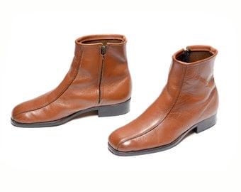 mens vintage boots 70s Chelsea boots caramel brown leather Beatle boots 1970 mod boots 9 9D Talon zipper