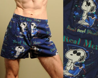 vintage Snoopy boxer shorts Peanuts Real Men Don't Need Direction risque adult novelty underwear medium M