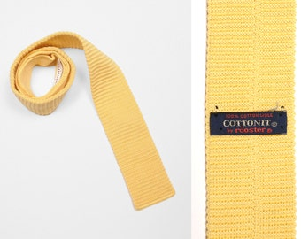 vintage 80s Rooster knit tie square bottom pale yellow Cottonit 100% cotton mens necktie 1980 square tie menswear