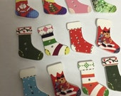 12 Darling Wooden Stocking Buttons