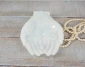 Cute milk glass hands dish, trinket dish, jewelry tray, ring dish, jewelry dish, catchall