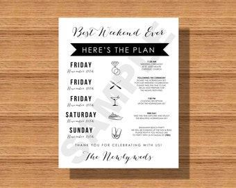 Best Weekend Ever Wedding Welcome Itinerary, Wedding Weekend Itinerary for Any Location, Wedding Itinerary for Guests, Wedding Schedule