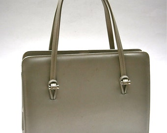 Vintage Silver Gray Handbag Mid Century Andrew Geller Leather Purse Structured Hard Case Compartment Mirror Bag Top Handle Minimalist Modern