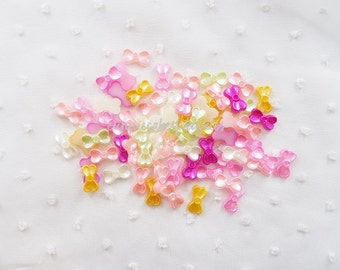 20pcs - Pretty Pearlized Bow Flatback Multicolored Mix Decoden (14x8mm) PM60003