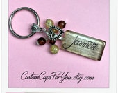PERSONALIZED  Wood Plank background  Name Or  Initial  Glass Tile  Keychain With Matching Beads