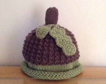 newborn photo prop, acorn newborn/ baby hat, newborn boy, newborn girl, newborn knit hat, newborn props, hat, baby hat, newborn boy prop