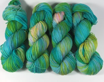 Simple Sock, Sock Yarn, Hand Dyed Yarn, Superwash Merino,Nylon, Hand Painted Yarn, Fingering Yarn, Scerene Song, Yarn, multicolored yarn