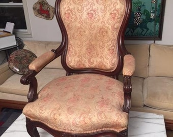 Antique Victorian Parlor ARM CHAIR Carved Walnut Beautiful