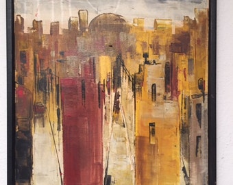 Mid-Century Modern Cityscape Oil painting by P. Magi Original abstract ART 1960's