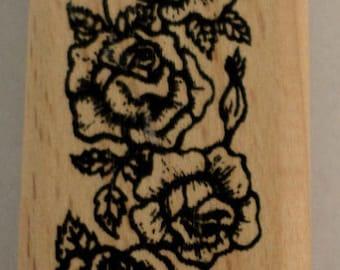 Vining Rose Garden Botanical Wooden Rubber Stamp
