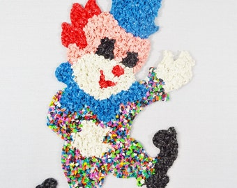 Circus Clown Vintage Plastic Popcorn Wall Decoration Melted Fused Blue White Red Nursery Baby Child Room 1970's